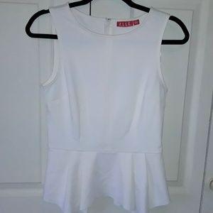 Elle Structured Sleeveless Blouse, Size 6, Cream